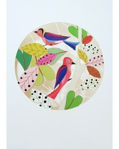 Forever Cards Laser Cut Blank Card Colorful Birds In Branches