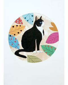 Forever Cards Laser Cut Blank Card Black And White Cat