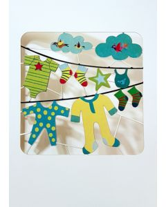 Forever Cards Laser Cut Blank Card Baby's Clothes On Washing Line