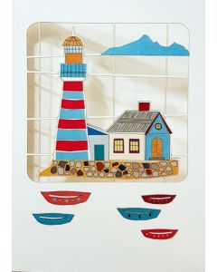 Forever Cards Laser Cut Blank Card Blue And Red Lighthouse