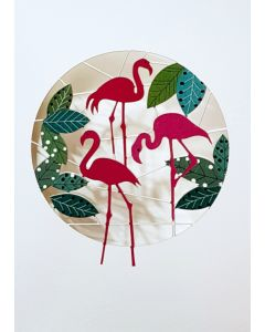 Forever Cards Laser Cut Blank Card Happy Flamingos