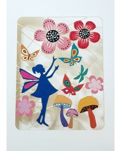 Forever Cards Laser Cut Blank Card Little Fairy Amongst The Flowers