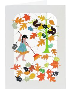 Forever Cards Laser Cut Blank Card Autumn Sweeping