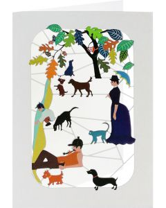 Forever Cards Laser Cut Blank Card Relaxing With Dogs And Cats