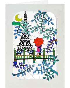 Forever Cards Laser Cut Blank Card Eiffel Tower Couple In Love