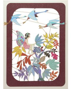 Forever Cards Laser Cut Blank Card Flying Birds And Fairy