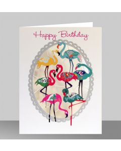 Forever Cards Laser Cut Birthday Card Flamingos