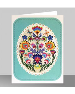 Forever Cards Laser Cut Blank Card Turquoise Folk Art Oval