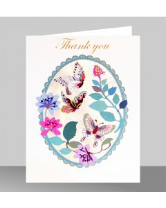 Forever Cards Laser Cut Thank You Card Butterfly Oval