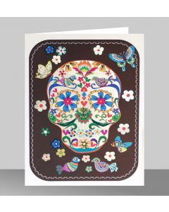 Forever Cards Laser Cut Blank Card Skull With Butterflies