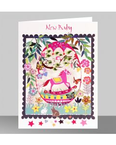 Forever Cards Laser Cut New Baby Card Pink Rocking Horse In An Egg