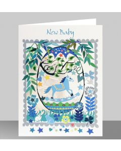 Forever Cards Laser Cut New Baby Card Blue Rocking Horse In An Egg