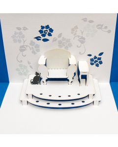 Forever Cards Pop Up Blank Card Black Cat with Armchair