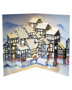 Forever Cards Pop Up Christmas Card Tudor Houses