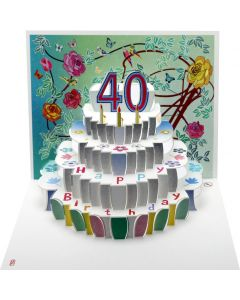 Forever Cards Pop Up Birthday Card 40th Birthday Floral
