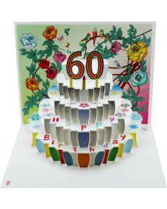 Forever Cards Pop Up Birthday Card 60th Birthday Floral
