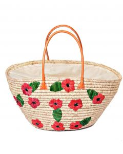 Madaraff Raffia Basket Embroidered with Scattered Poppies