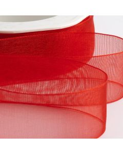 ,Italian Options - Organza Woven Edge Ribbon Red