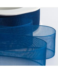 ,Italian Options - Organza Woven Edge Ribbon Royal Blue
