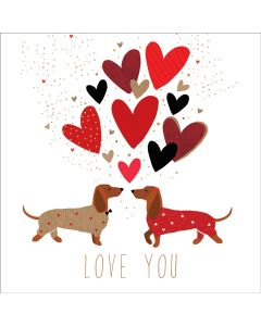 The Art File Sara Miller London Card Valentine's Day Card  Love You Dachshunds