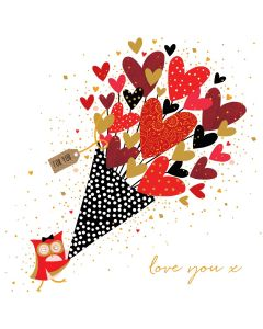 The Art File Sara Miller London Card Valentine's Day Card  Owl Bouquet