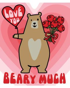Candy Floss Valentine's Day Card  Love You Bear
