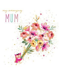 The Art File Sara Miller London Card Mother's Day Card  Amazing Mum Owl Bouquet