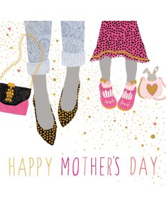 Sara Miller London, Jaz and Baz Mother's Day Card,  Mother and Child Feet