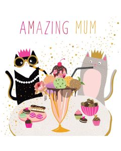 Sara Miller London Mother's Day Card Ice Cream Cats