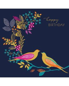The Art File Sara Miller London Card Two Birds on Floral Twig