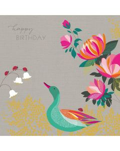 The Art File Sara Miller London Card Birthday Duck and Flowers