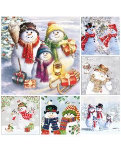 Snow People  - Mixed Pack of 12 Napkins for Decoupage