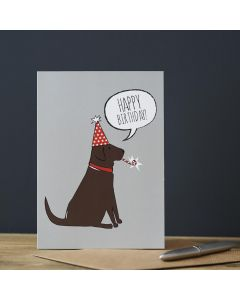 Sweet William Birthday Card Labrador Chocolate