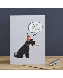 Sweet William Birthday Card Black Schnauzer