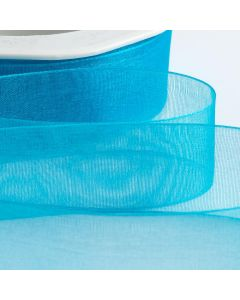 ,Italian Options - Organza Woven Edge Ribbon Turquoise