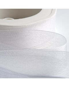 ,Italian Options - Organza Woven Edge Ribbon White