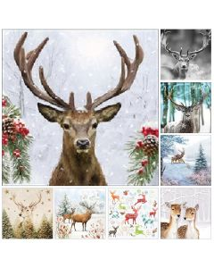 Winter Deer - Mixed Pack of 16 Napkins for Decoupage