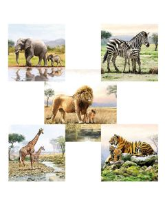 Napkins for Decoupage Mixed Pack of 10,  Wonderful Wild Beasts