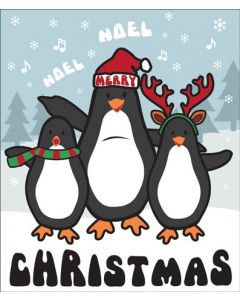 Candy Floss Christmas Card Three Merry Penguins
