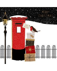Sara Miller London Christmas Card Post Box and Robin with Gift Boxes