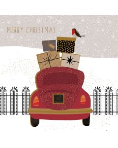 Sara Miller London Christmas Card Robin Delivery