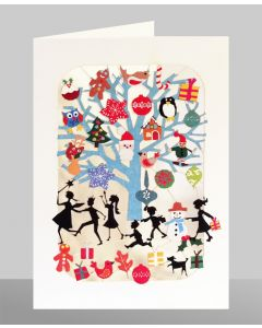 Children playing, gifts on tree - XP27 - Laser Cut Christmas Card