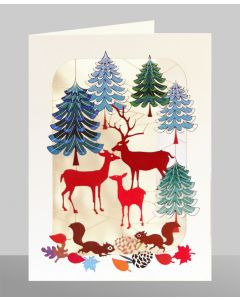 Deer Family in Forest  - XP38 - Laser Cut Christmas Card