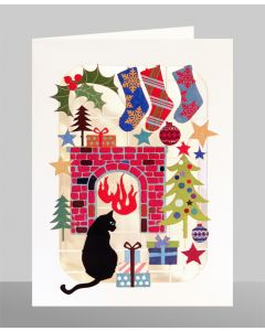 Cat in Front of Fire  - XP43 - Laser Cut Christmas Card