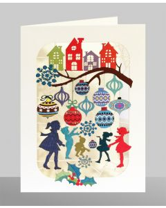 Children and Baubles  - XP44 - Laser Cut Christmas Card