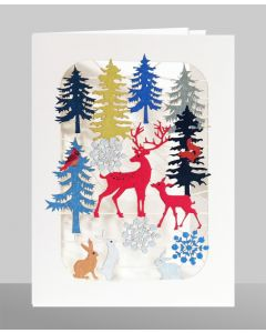 Red Deer in Forest  - XP45 - Laser Cut Christmas Card