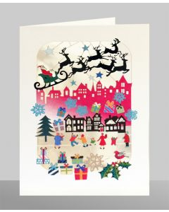 Santa over Rooftops  - XP48 - Laser Cut Christmas Card