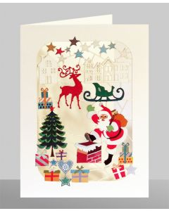 Santa going down the Chimney - XP52 - Laser Cut Christmas Card