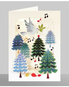 Trees, Dove and Music  - XP54 - Laser Cut Christmas Card