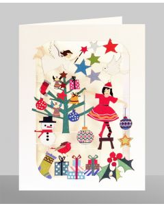 Girl Decorating Tree  - XP56 - Laser Cut Christmas Card